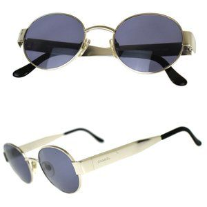 CHANEL Logos Sunglasses Eye Wear Metal Silver Plated Italy Italy 06933 05AC369